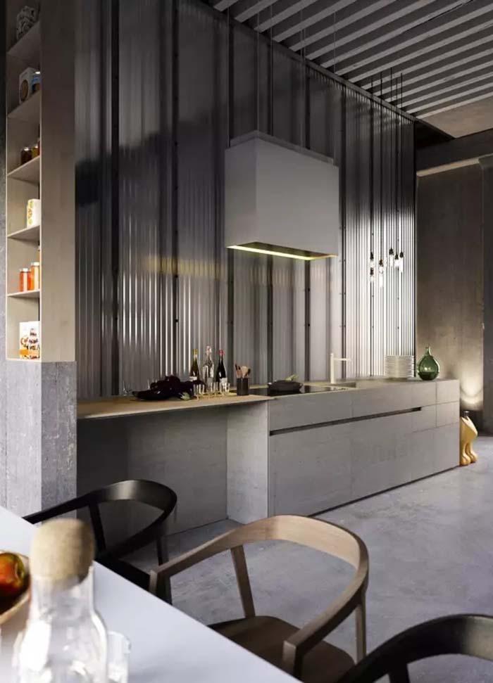 装修效果图  不同色调的灰色橱柜组合在一起, 墙面和台面突出水泥或是