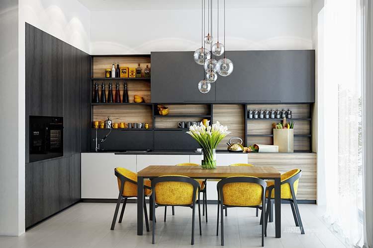 【捷西櫥柜】黑白灰作為櫥柜界最保守的顏色深受大家喜愛,而灰色是既中性又包容的色彩,它不僅自己能獨樹一幟,而且和其他色彩搭配也能呈現出流暢別致的藝術感!Hey,今天小編就帶大家看看灰色櫥柜有多高級~~  『 灰色作為主色 』 設計師們不是在白色為主色調的廚房中偶爾使用灰色,而是使用灰色作為主色調,這樣廚房顯得更加深邃有質感。 現代簡約風的廚房完全被黑色和深灰色覆蓋,非常酷  混凝土工業風黑板墻壁和淺灰色櫥柜,大膽又有趣的搭配  當選擇灰色作為廚房的主色時,最好選擇一個更涼爽和更輕盈的色調來和它搭配,這樣可