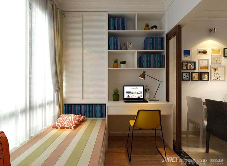 效果图#书房家具设计案例              第四,阳台书房的门最好是做
