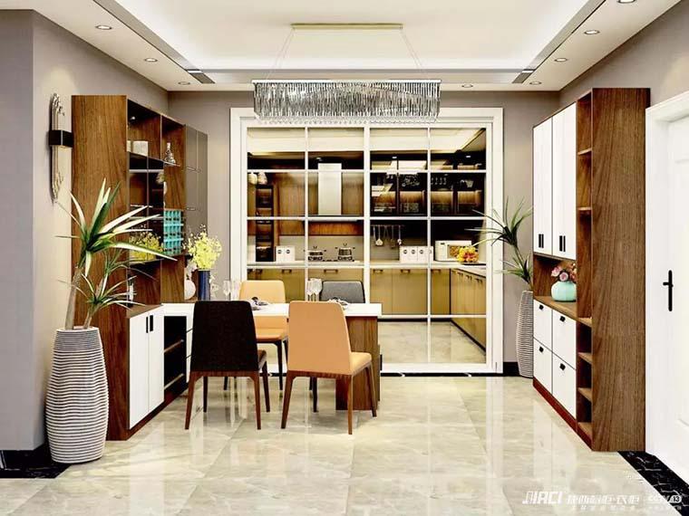 撞色色彩配上米白色沙发,客厅空间布局丰富但不花俏,黄绿背景