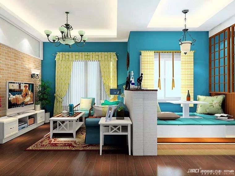 设计解析:客厅沙发与榻榻米飘窗之间的矮柜式吧台,有亲朋好友